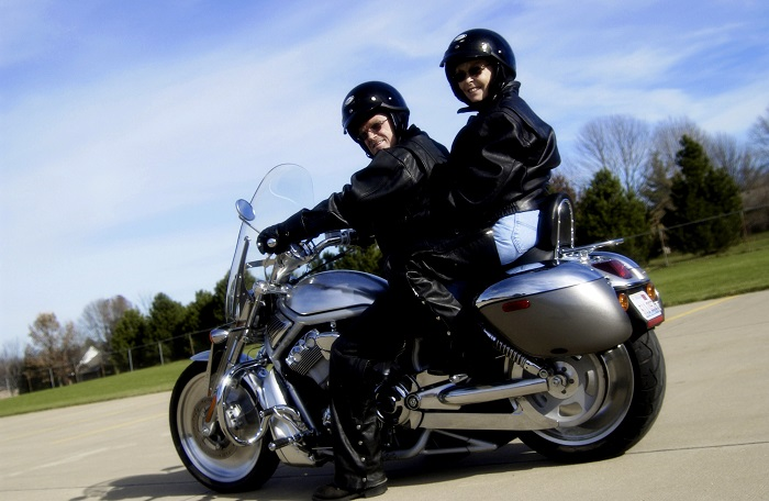 Motorcycle Riders in Tandem